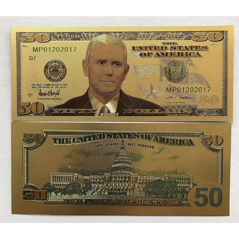 24kt Gold Plated $50 Vice President Mike Pence Commemorative Bank Note