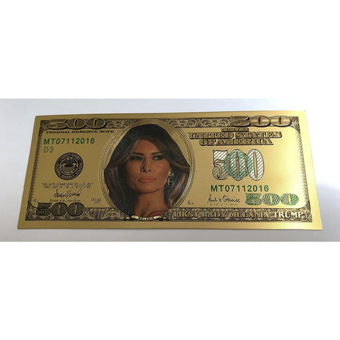 Image of 24kt Gold Plated $500 First Lady Melania Trump Commemorative Bank Note