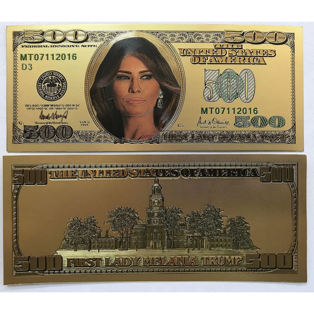 24kt Gold Plated $500 First Lady Melania Trump Commemorative Bank Note