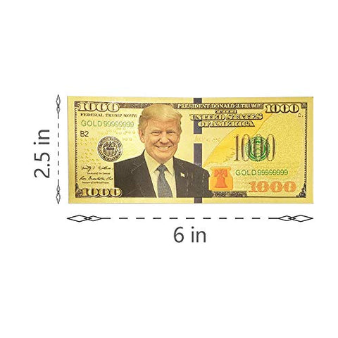 $1000 President Donald Trump 24kt Gold Plated Commemorative Bank Notes