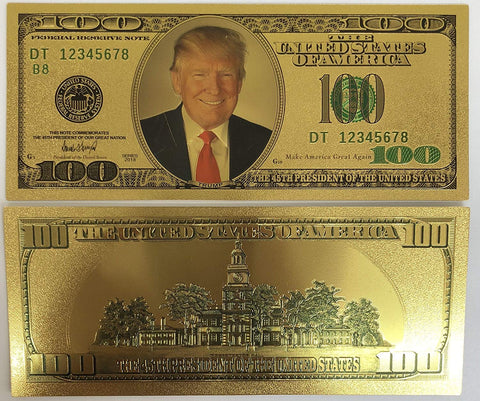 NEW $100 Trump Commemorative 24K Gold Plated Bank Note