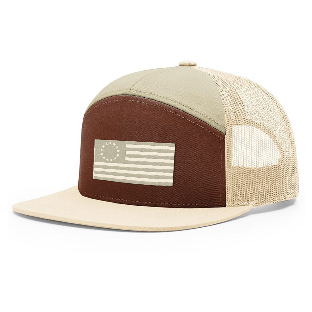 Betsy Ross USA Flag Brown & Khaki Hat