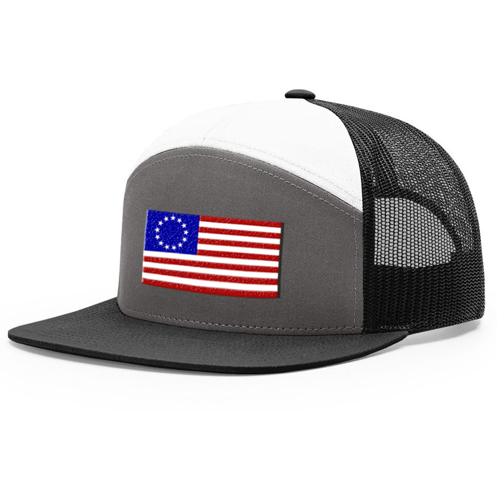 Betsy Ross USA Flag Charcoal & White Hat