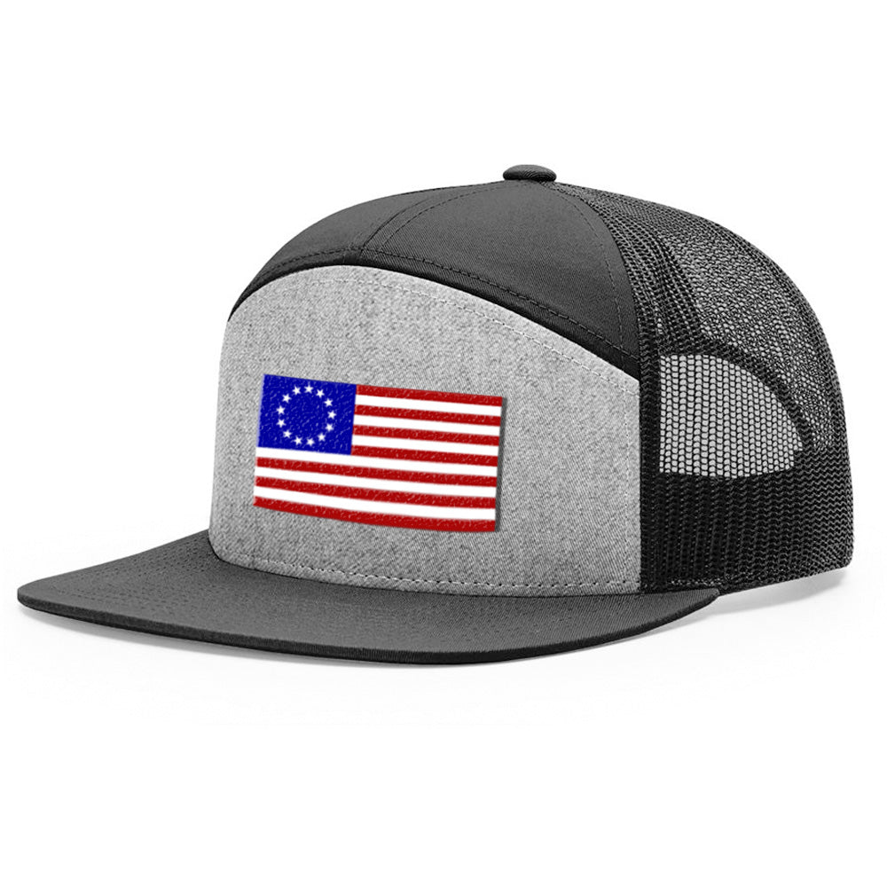 Betsy Ross USA Flag Heather Grey & Black Hat