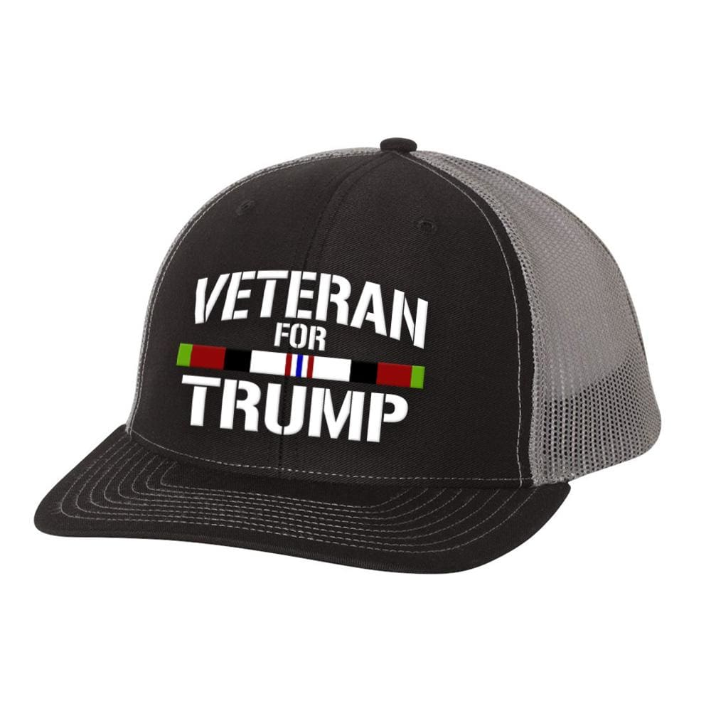 Afghanistan Veteran For Trump Trucker Hat - Black & Charcoal - Hats