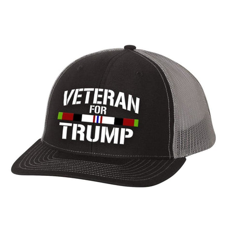 Image of Afghanistan Veteran For Trump Trucker Hat - Black & Charcoal - Hats