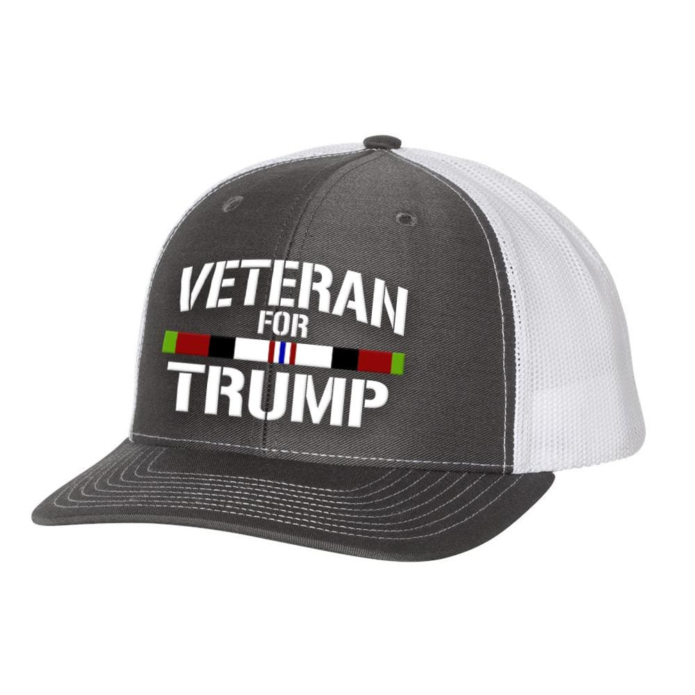 Afghanistan Veteran For Trump Trucker Hat - Charcoal & White - Hats
