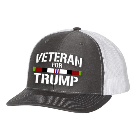 Image of Afghanistan Veteran For Trump Trucker Hat - Charcoal & White - Hats
