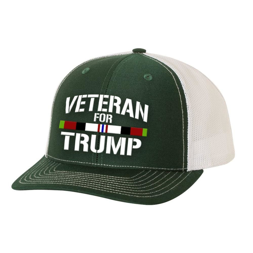Afghanistan Veteran For Trump Trucker Hat - Dark Green & White - Hats