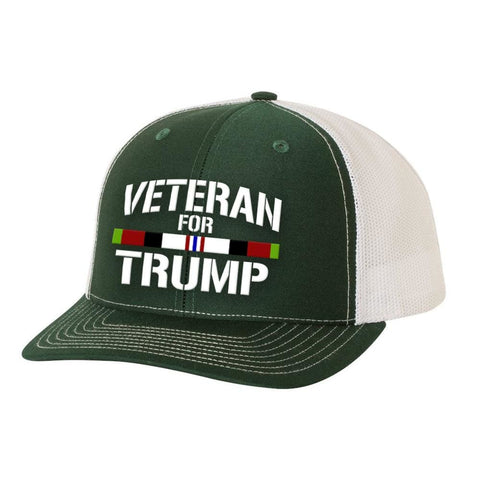 Image of Afghanistan Veteran For Trump Trucker Hat - Dark Green & White - Hats