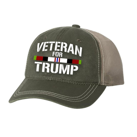 Afghanistan Veteran For Trump Weathered Hat - Olive - Hats