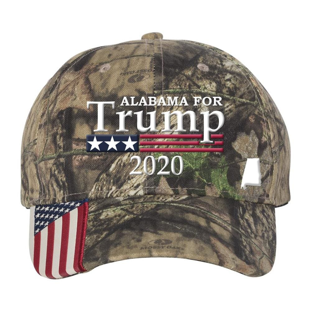 BUILD THE WALL MOSSY OAK CAP TRUMP AMERICAN FLAG with FREE TRUMP 2020 PIN!