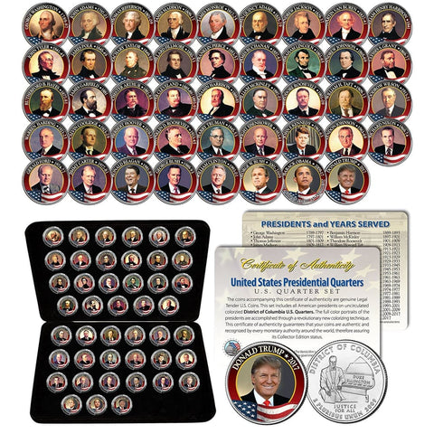 ALL 45 United States PRESIDENTS: Full Coin Set -- 44 Colorized D.C. Quarters with Leatherette Coin Display Box and Certificate of