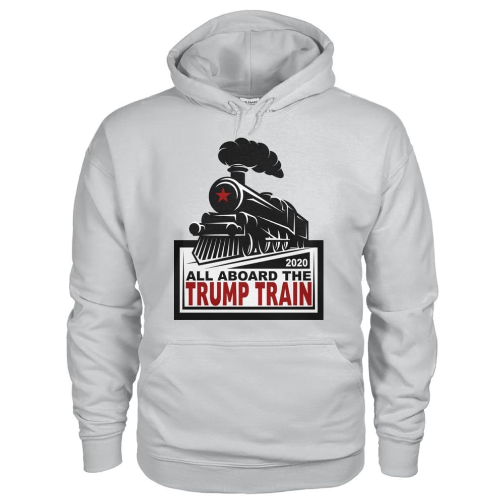 All Aboard the Trump Train Hoodie - Ash Grey / S / Gildan Hoodie - Hoodies