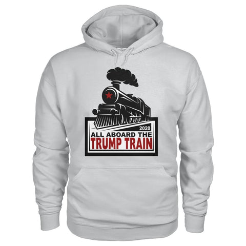 Image of All Aboard the Trump Train Hoodie - Ash Grey / S / Gildan Hoodie - Hoodies