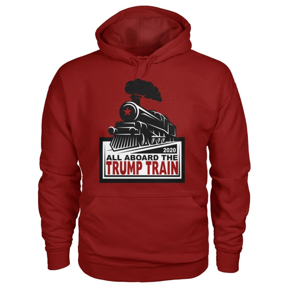 All Aboard the Trump Train Hoodie - Cardinal Red / S / Gildan Hoodie - Hoodies