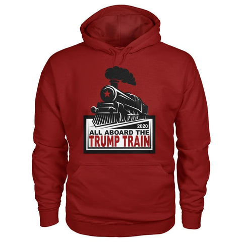 Image of All Aboard the Trump Train Hoodie - Cardinal Red / S / Gildan Hoodie - Hoodies