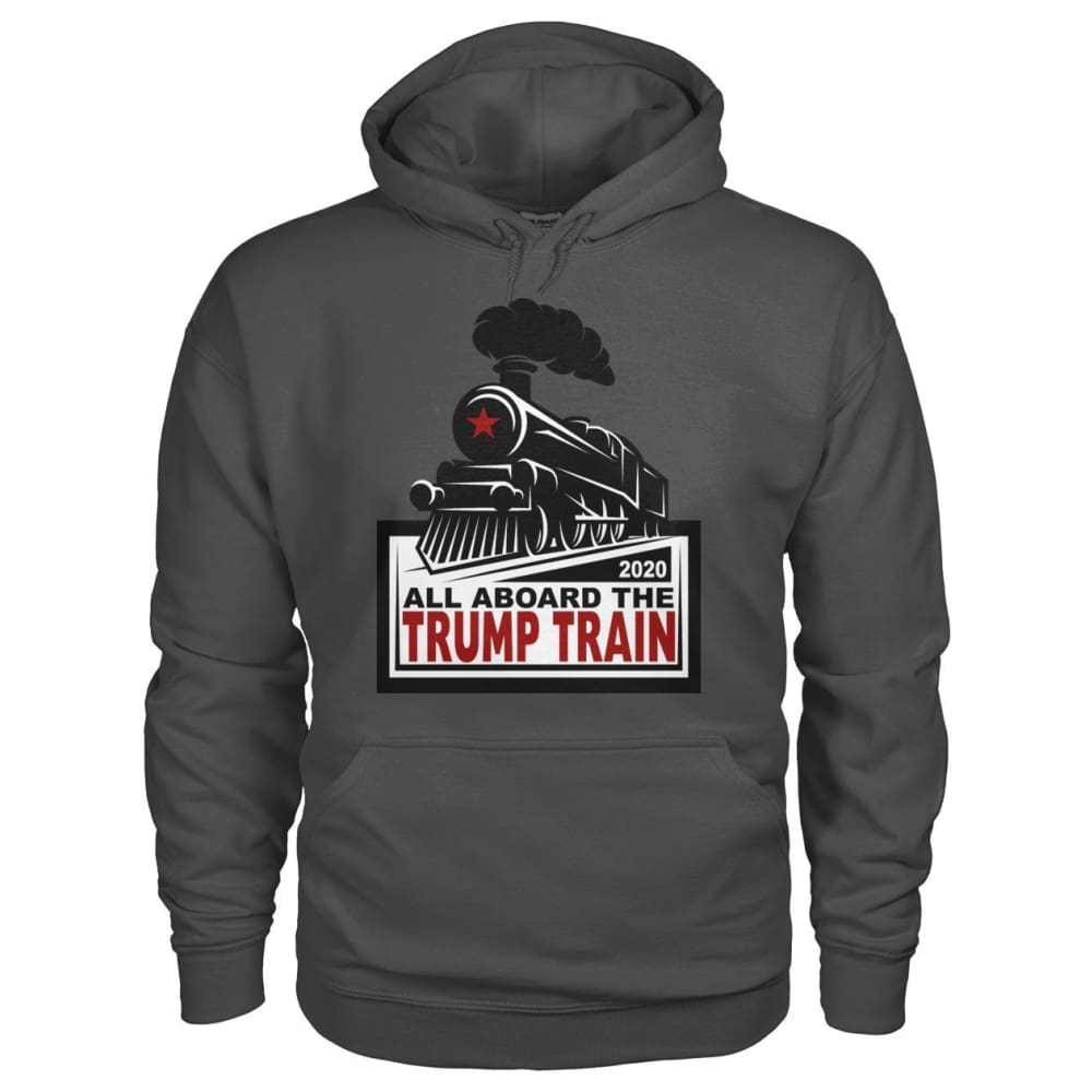 All Aboard the Trump Train Hoodie - Charcoal / S / Gildan Hoodie - Hoodies