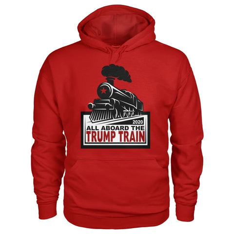 Image of All Aboard the Trump Train Hoodie - Cherry Red / S / Gildan Hoodie - Hoodies