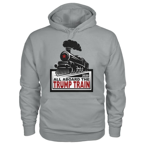 Image of All Aboard the Trump Train Hoodie - Sport Grey / S / Gildan Hoodie - Hoodies