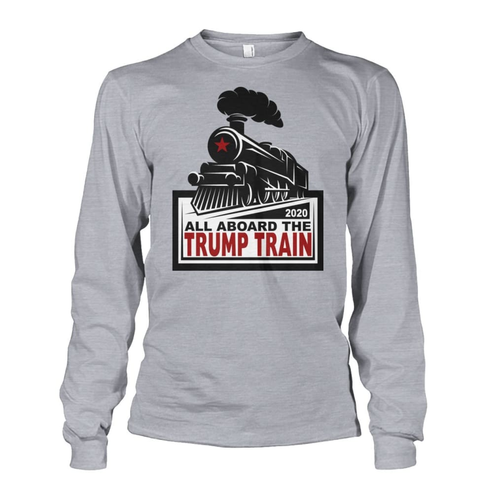 All Aboard the Trump Train Long Sleeve - Sports Grey / S / Unisex Long Sleeve - Long Sleeves
