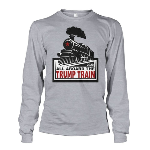 Image of All Aboard the Trump Train Long Sleeve - Sports Grey / S / Unisex Long Sleeve - Long Sleeves