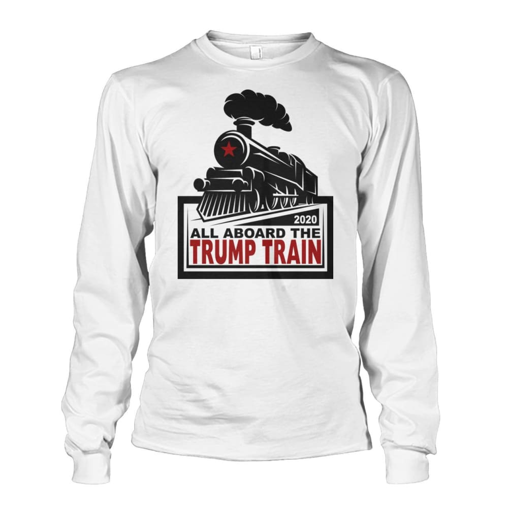 All Aboard the Trump Train Long Sleeve - White / S / Unisex Long Sleeve - Long Sleeves