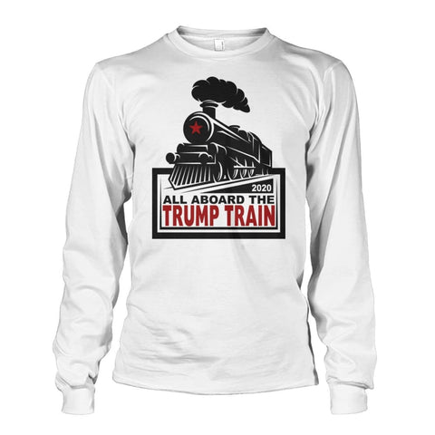 Image of All Aboard the Trump Train Long Sleeve - White / S / Unisex Long Sleeve - Long Sleeves