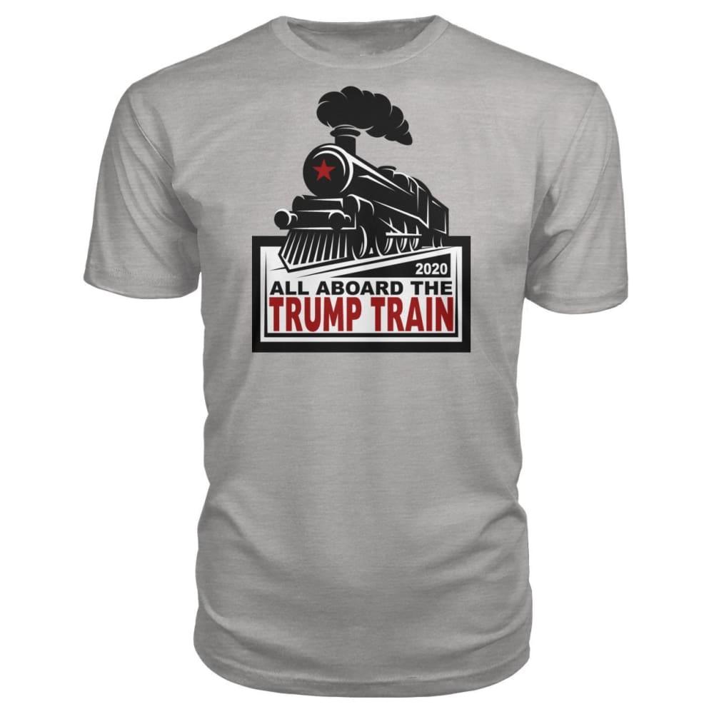 All Aboard the Trump Train Premium Unisex Tee - Heather Grey / S / Premium Unisex Tee - Short Sleeves