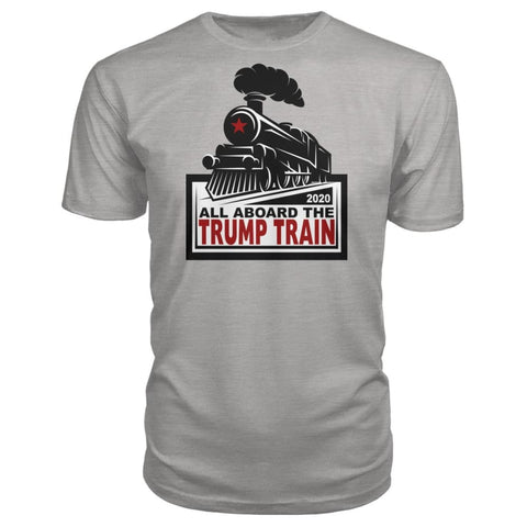 Image of All Aboard the Trump Train Premium Unisex Tee - Heather Grey / S / Premium Unisex Tee - Short Sleeves