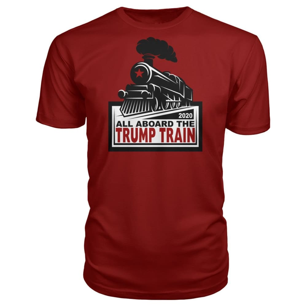 All Aboard the Trump Train Premium Unisex Tee - Independence Red / S / Premium Unisex Tee - Short Sleeves