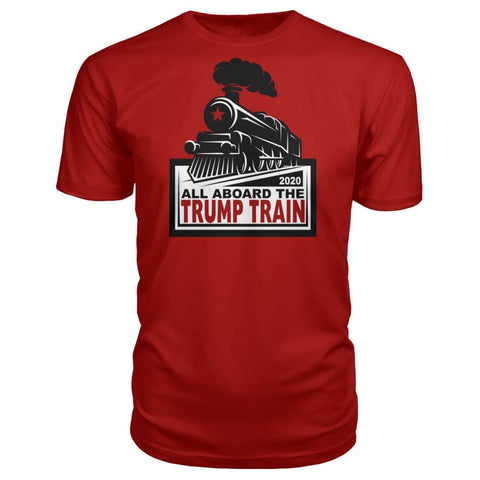 Image of All Aboard the Trump Train Premium Unisex Tee - Red / S / Premium Unisex Tee - Short Sleeves