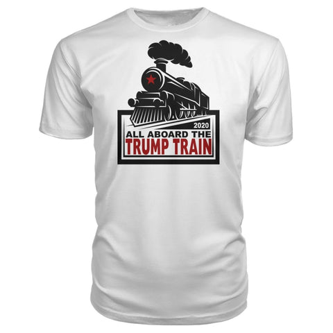 Image of All Aboard the Trump Train Premium Unisex Tee - White / S / Premium Unisex Tee - Short Sleeves