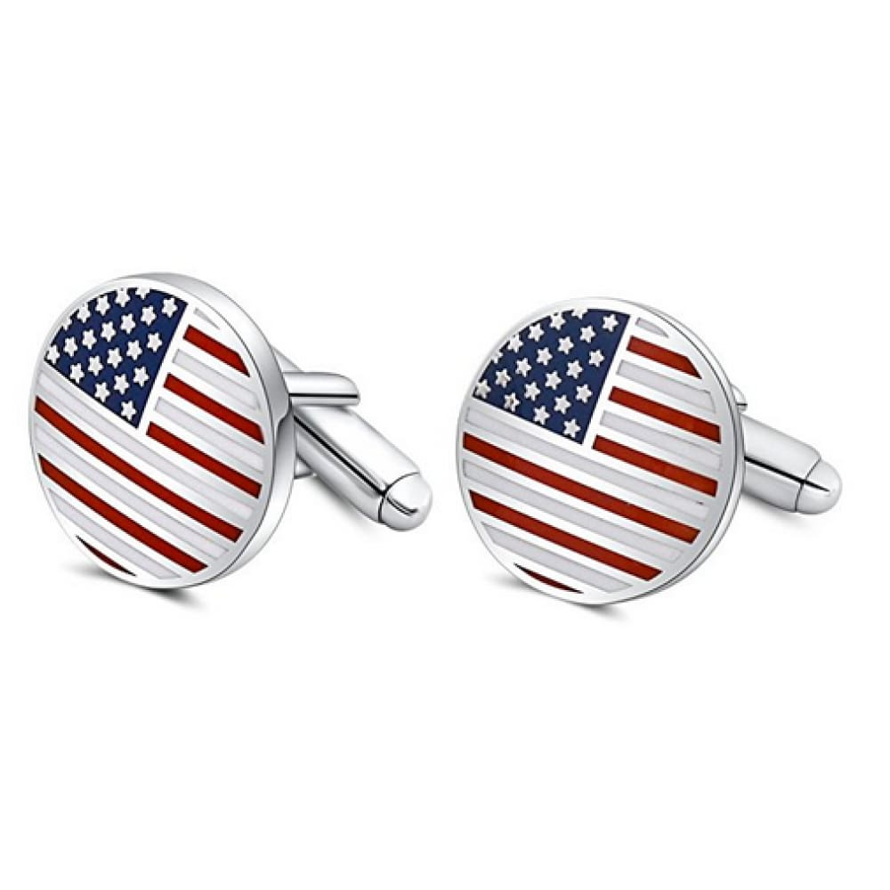American Flag Cufflinks Circular (Platinum Plated) - Jewelry
