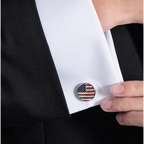 Image of American Flag Cufflinks Circular (Platinum Plated) - Jewelry
