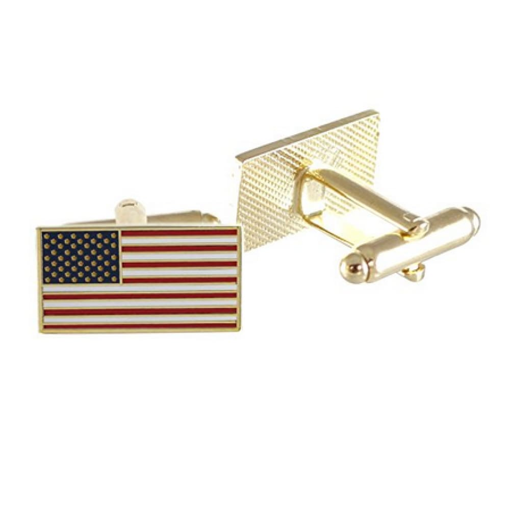 American Flag Cufflinks (Gold Plated)