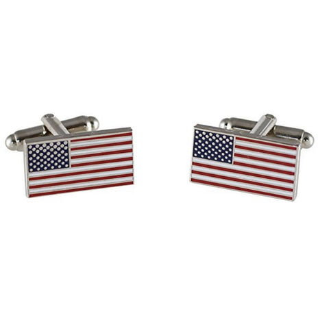 American Flag Cufflinks (Silver Plated)