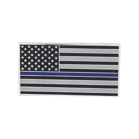 Image of American Flag (Thin Blue Line) Car Bumper Or Wall Adhesive Decal - Car