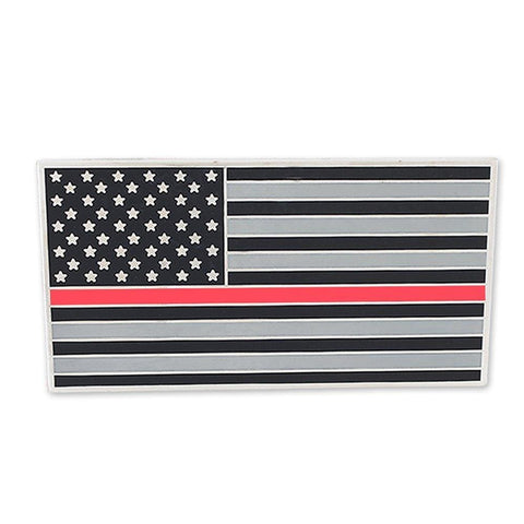 Image of American Flag (Thin Red Line) Car Bumper Or Wall Adhesive Decal - Car