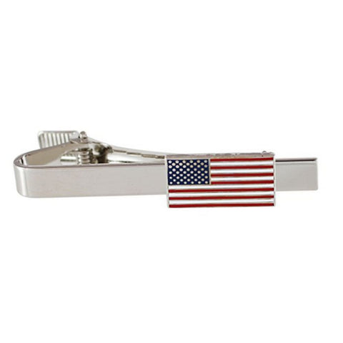 Image of American Flag Tie Bar (Silver)