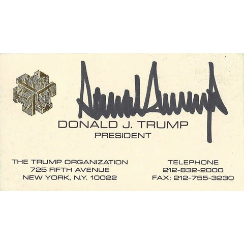 Image of AUTOGRAPHED Donald Trump 2016 Presidential Candidate THE TRUMP OGRANIZATION (Rare Chinese Writing on Back) Early Vintage Signed Collectible