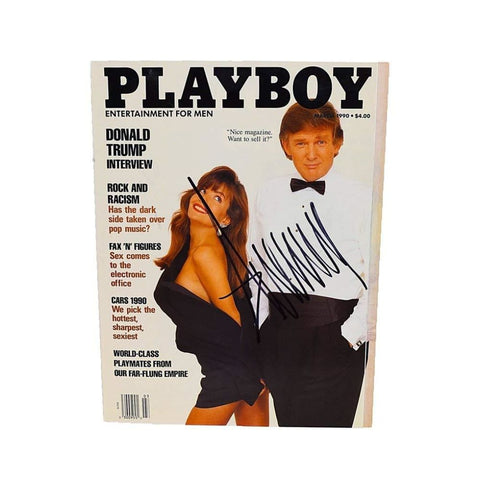 AUTOGRAPHED Donald Trump ORIGINAL PLAYBOY MAGAZINE (March 1990) Extremely Rare Signed 9X11 Inch Magazine with a 12X15 Inch Black Frame