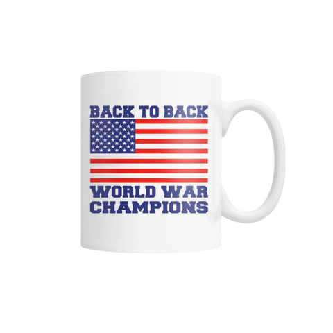 Image of Back to Back World War Champions White Coffee Mug - White