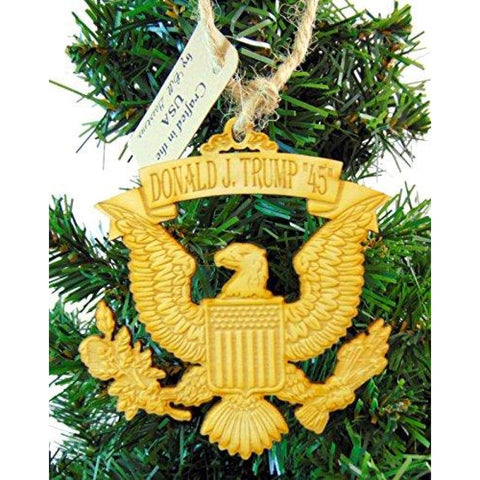 Christmas Ornament (Eagle): Hand Carved Wood & Made In The USA - Ornament