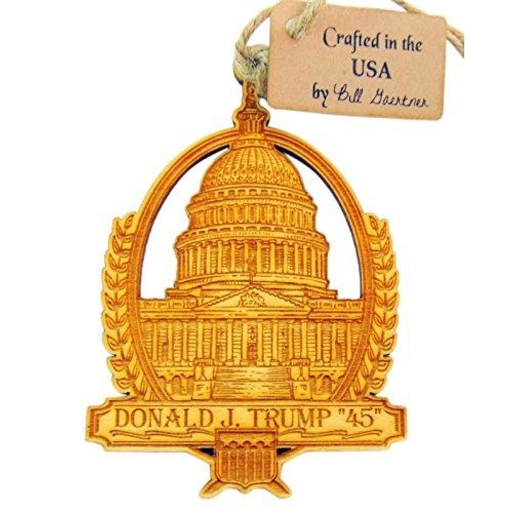 Christmas Ornament (White House): Hand Carved Wood & Made In The USA - Ornament