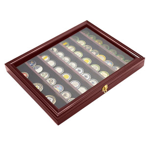 Coin Display Case -- Cabinet Rack Holder With Door