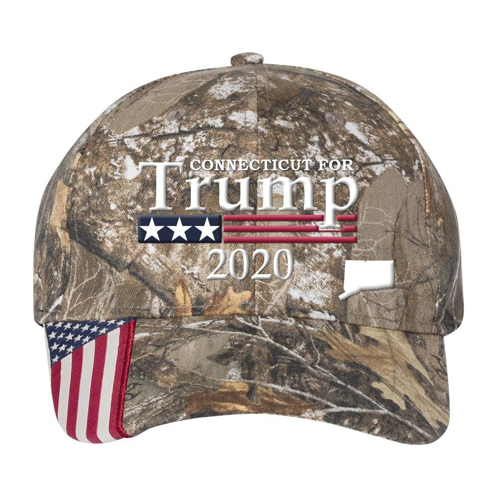 Connecticut For Trump 2020 Hat - Realtree Edge