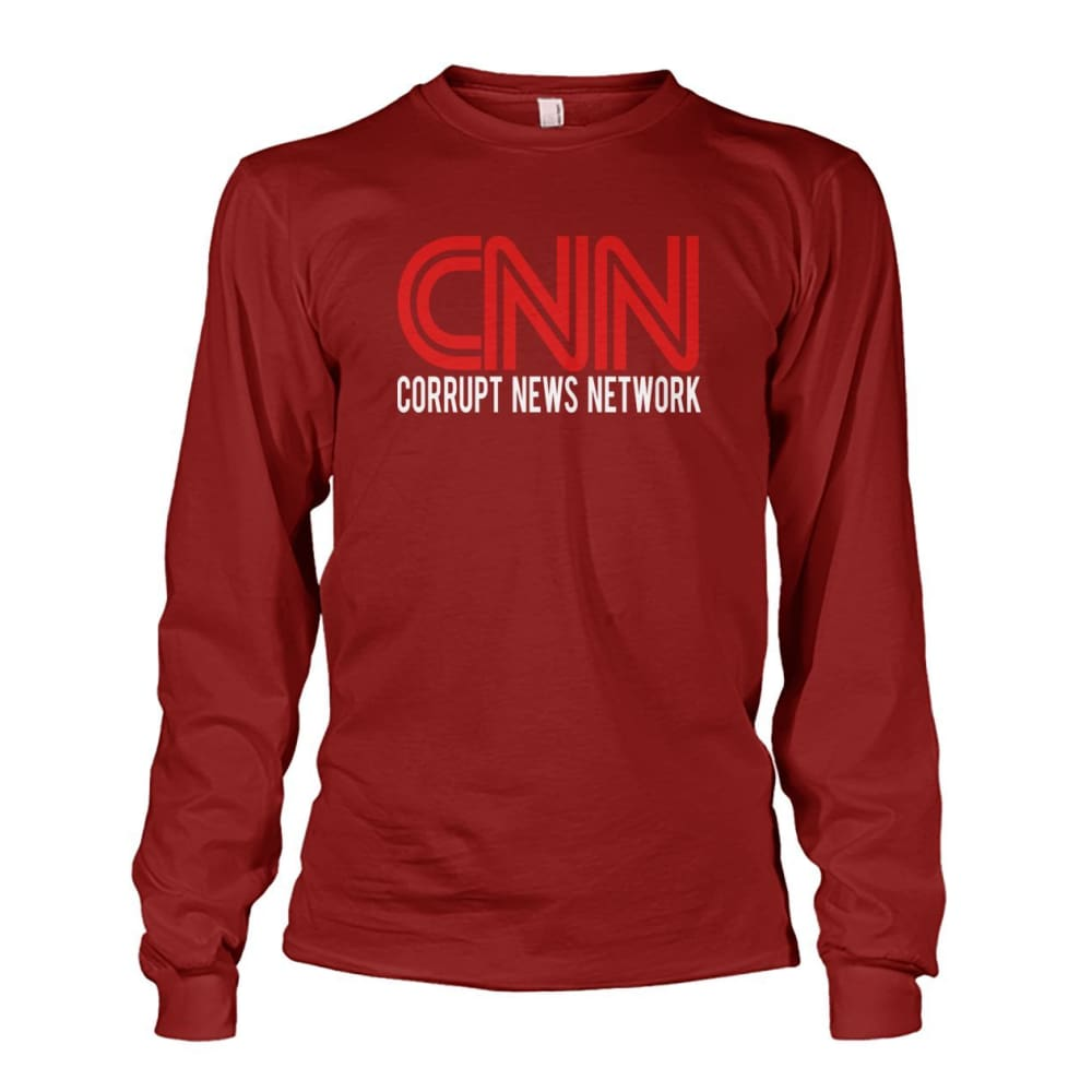 Corrupt News Network Long Sleeve - Cardinal Red / S / Unisex Long Sleeve - Long Sleeves