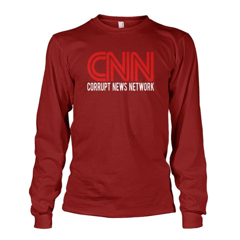 Image of Corrupt News Network Long Sleeve - Cardinal Red / S / Unisex Long Sleeve - Long Sleeves