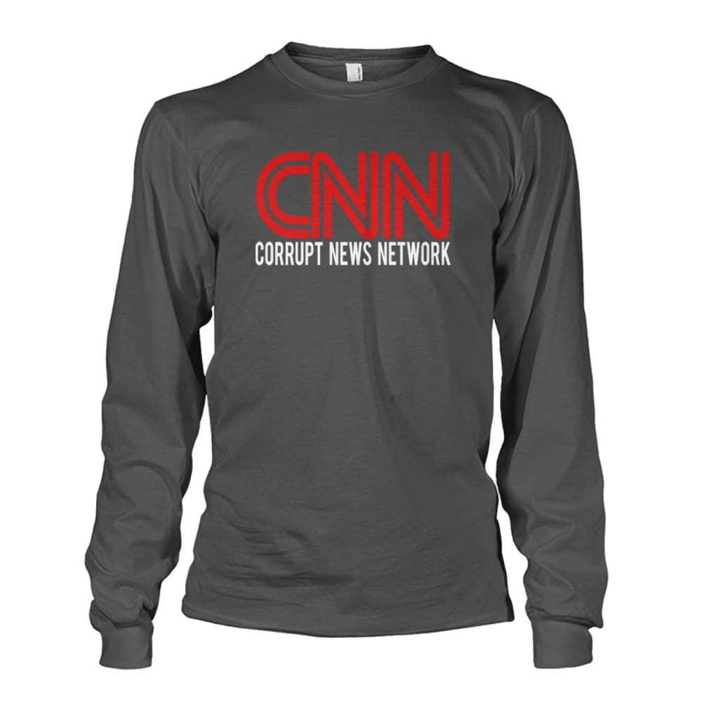 Corrupt News Network Long Sleeve - Charcoal / S / Unisex Long Sleeve - Long Sleeves